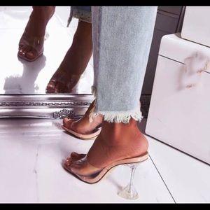 PVC Transparent Heels with Geometric Heel